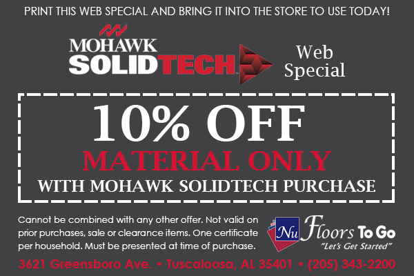 Mohawk SolidTech Web Special - 10% Off Material Only only at Nu Floors To Go in Tuscaloosa, Alabama
