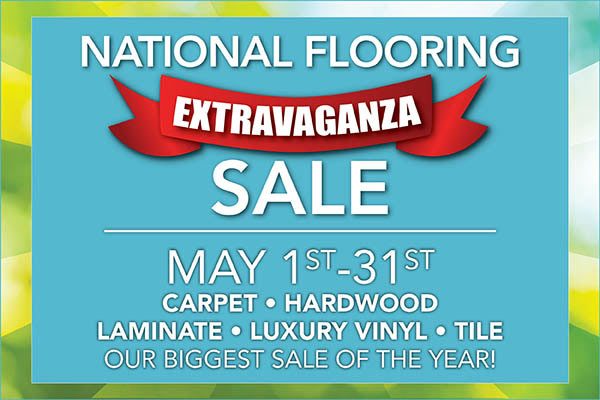 National Flooring Extravaganza Sale going on now at Nu Floors To Go - Our biggest sale of the year!