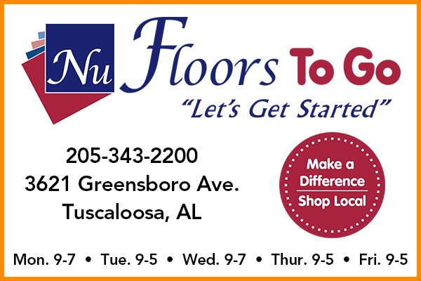 Visit Nu-Floors To Go 3621 Greensboro Ave.  Tuscaloosa, AL 35401 for all of your floorcovering needs!