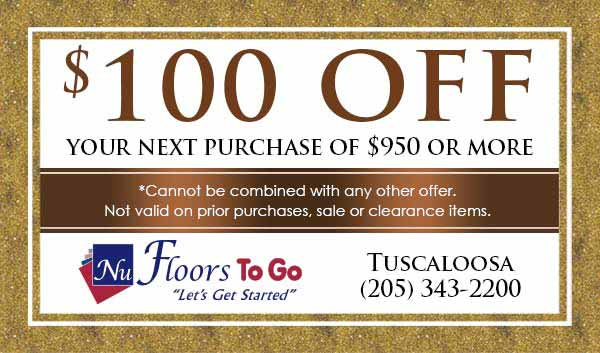 $100 off on flooring at Nu Floors to Go in Tuscaloosa, AL