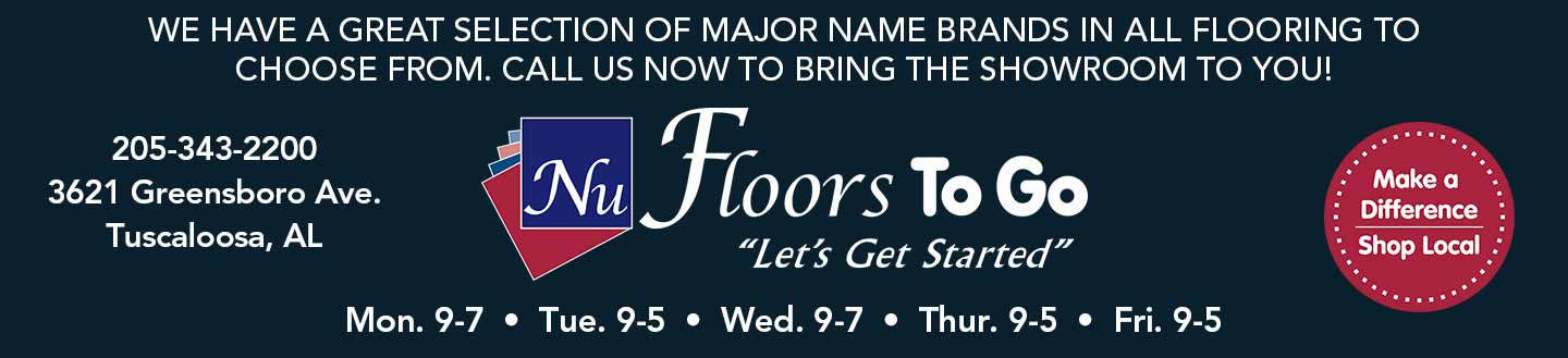 Save on flooring at Nu Floors to Go in Tuscaloosa, AL