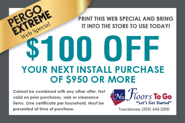 Mohawk SolidTech Web Special - $100.00 off next install purchase of $950 or more - Nu Floors To Go in Tuscaloosa, Alabama - Cannot be combined with any other offer. Not valid on prior purchases, sale, or clearance items. One certificate per household. Must be presented at time of purchase.