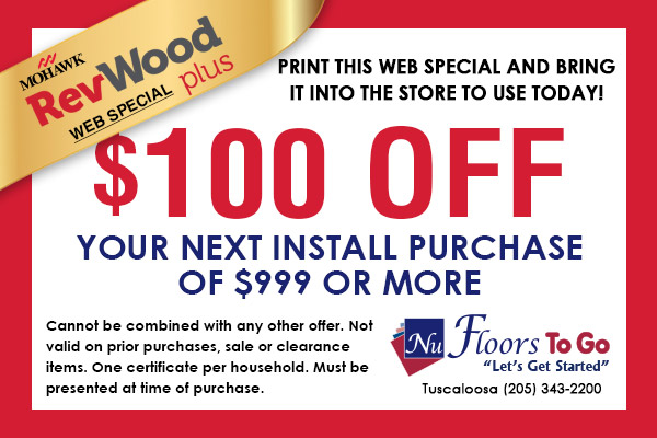 Mohawk Revwood Plus - $100 off your next install purchase of $999 or more only at Nu Floors To Go.